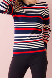 STRIPED SWEATER | Mørkeblå | strik bluse med striber fra SAINT TROPEZ