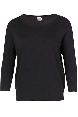 KNIT BLOUSE W RIB | Sort | Strikbluse fra SAINT TROPEZ