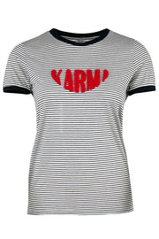 KARMA TEE | Black | Stribet t-shirt fra SAINT TROPEZ