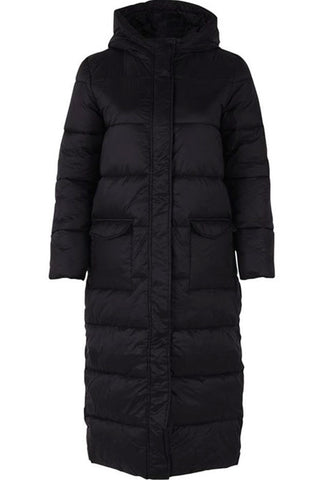 LONG PADDED JACKET WITH H | Sort | Jakke fra SAINT TROPEZ