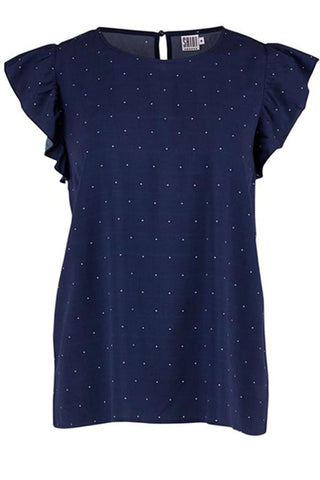 BLOUSE WITH RUFFLE | Blue haze | Top med prikker fra SAINT TROPEZ