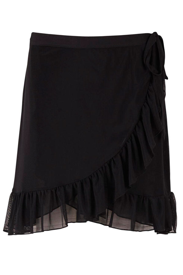 MESH SKIRT WITH RUFFLE | Sort | Nederdel fra SAINT TROPEZ