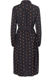 Katie Shirt Dress | Black / Brown dot | Kjole med prikker fra Liberté