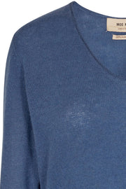 Sophia V-neck Cashmere | Dark Blue | Sweater fra Mos Mosh