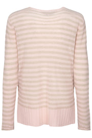 Sophia Stripe V-neck Cashmere | Chintz Rose | Sweater fra Mos Mosh
