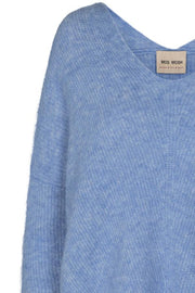 Thora V-neck Knit | Bel Air Blue | Strik fra Mos Mosh