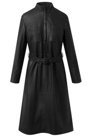Dress w/belt | Black | Læder kjole fra Depeche
