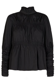 Hannah Elastic Puff Blouse | Black | Bluse fra Co'Couture