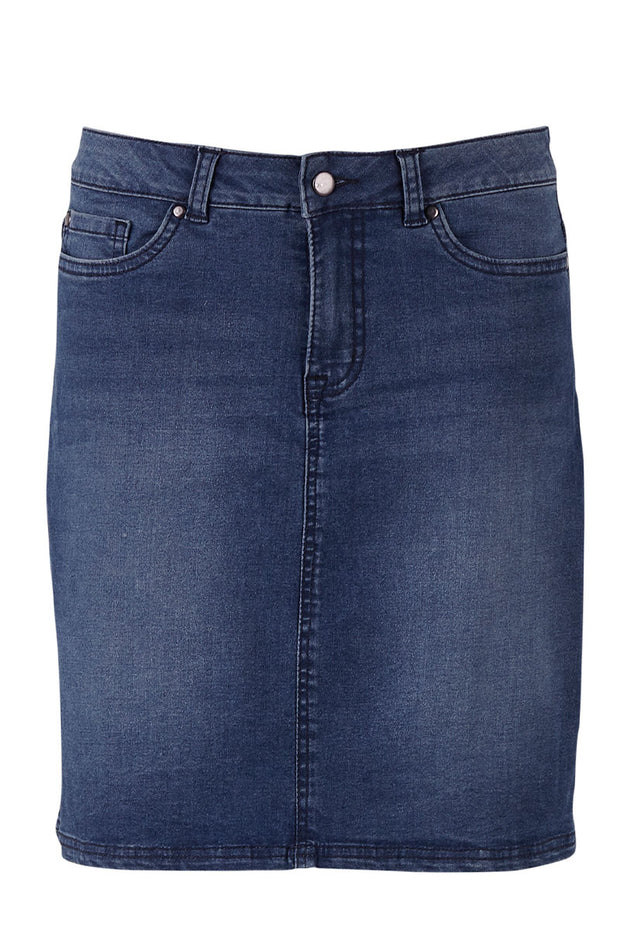 Woven Skirt Above Knee | T8014 | Medium Blue | Nederdel fra SAINT TROPEZ