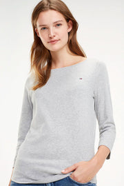 Boat Neck Tee 3/4 | Light Grey | Bluse med 3/4 ærmer fra Tommy Hilfiger