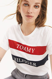 Lula C-NK Tee SS | Bright White | T-shirt med logo Tommy Hilfiger