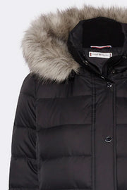 New Tyra Down Coat | Meteorite / Sort | Dunjakke fra Tommy Hilfiger