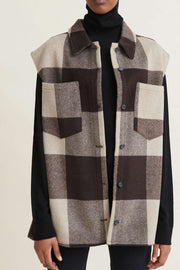 Amina vest clean up checked | Chocolate | Vest fra Basic Apparel