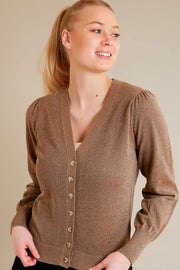 Amazy Car Lurex | Desert Taupe | Glimmer cardigan fra Freequent