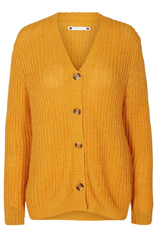 DENIRO RIB CARDIGAN | Mustard | Strik cardigan fra CO'COUTURE