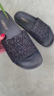 Glitter Black | Slippers med glimmer fra The White Brand