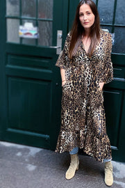 Karoline Dress | Leo / Sort | Kjole med leopardprint fra Liberté
