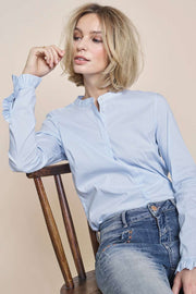 Mattie Stripe Shirt | Light blue | Stribet skjorte fra MOS MOSH