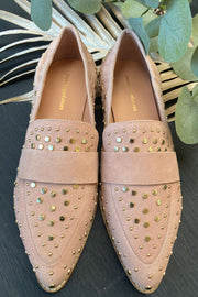Molly 21 Suede | Rosa | Loafers med nitter fra Copenhagen Shoes
