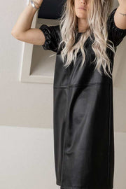Trieste Faux Dress | Sort | Kjole i læderlook fra Neo Noir