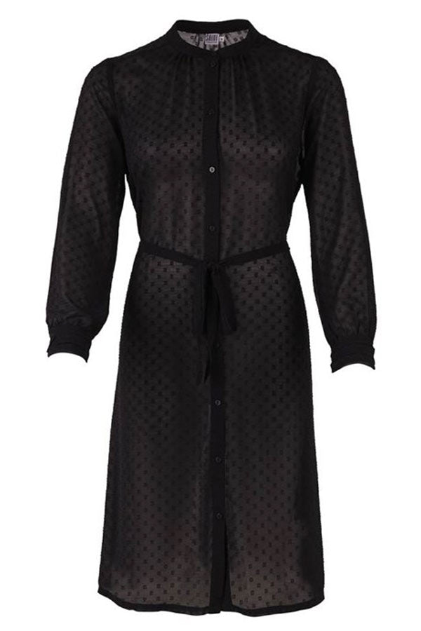 CHIFFON JACQUARD SHIRT DRESS | Sort | Skjorte kjole fra SAINT TROPEZ