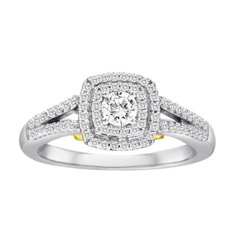 STEAL HER HEART DESIGNER BRIDAL COLLECTION- 1/2 CT. TW. DIAMOND ENGAGEMENT RING SET IN 14K WHITE GOLD