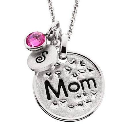 "MOMMY CHIC- FLORAL ""MOM"" PENDANT"