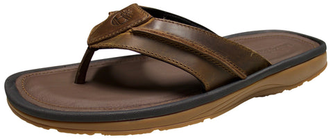 Timberland Men's Rugged Thong Brown Oiled Leather Sandal