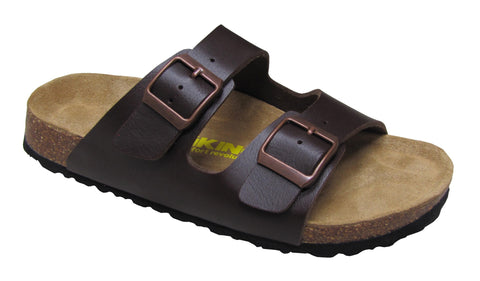 Men's 2 Buckle Slide-Brama Brown