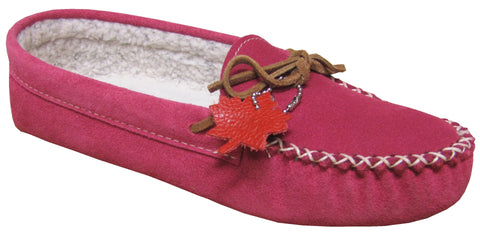 Women's Suede Moccasins Lined Fuchsia