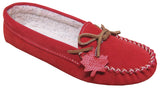 Women's Suede Moccasins Lined Red