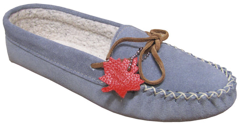 Women's Suede Moccasins Lined Powder Blue
