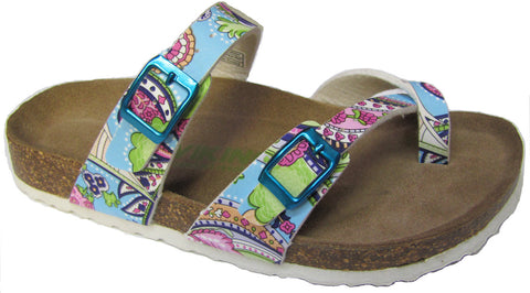 Two Buckle Slide with Toe Strap-Brama Paisley Print