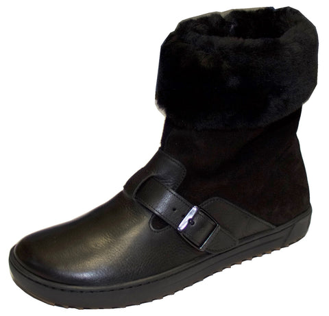 Birkenstock Stirling Shearling Lined Boot Black Leather Regular Width