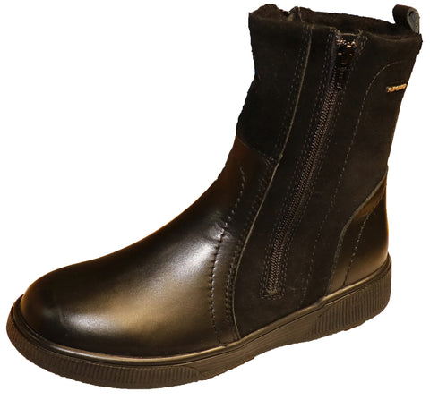 Ladies double zip boot/wool/grip sole
