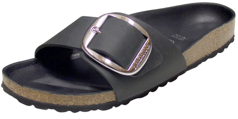 Birkenstock Madrid Big Buckle, Black, Oiled Leather
