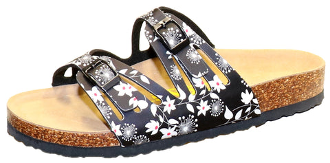 Two Buckle Cut Out Slide-Brama Floral Black