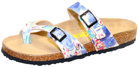 Two Buckle Slide with Toe Strap-Brama Blue Floral