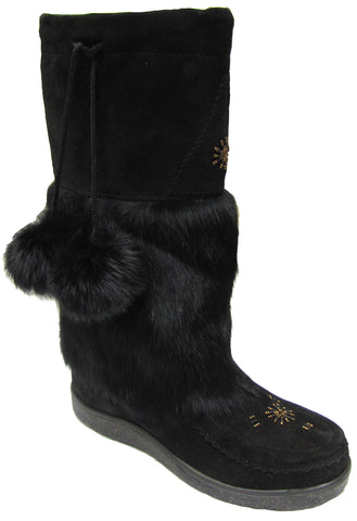 Women's suede & rabbit boot with web sole Black