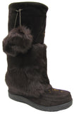Women's suede & rabbit boot with web sole Brown