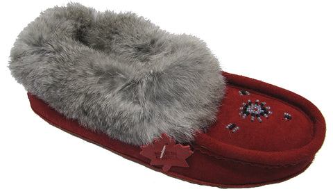 Women's Suede Slipper, lined, rubber, Chinchilla Rabbit, Red
