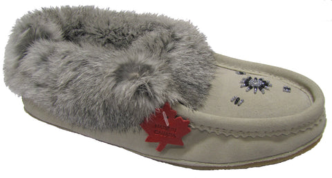 Women's Suede Slipper, lined, rubber, Chinchilla Rabbit, Ice Suede