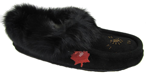 Women's Suede Slipper, lined, rubber, Chinchilla Rabbit, Black
