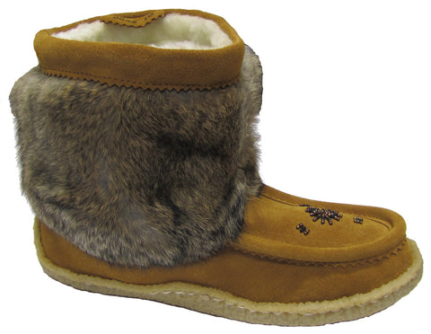 Women's Medium Mukluk with rabbit fur Brown