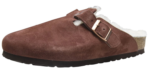 Birkenstock Boston, Mink, Suede/Shearling, Port