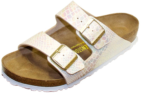 Brikenstock Arizona Sandal in Shiny Snake Cream