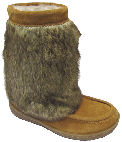 Women's suede boot, faux fur, rubber, Hazelnut