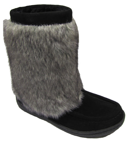 Women's suede boot, faux fur, rubber, black
