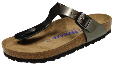 Birkenstock Gizeh, Soft Footbed, Metallic Anthracite, Leather