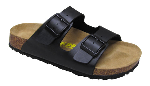 Women 2 Buckle Slide-Brama Black